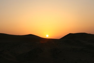 Sunset while a Bedu desert party