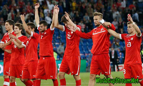 The Switzerland players celebrate after winning their friendly international match against Brazil