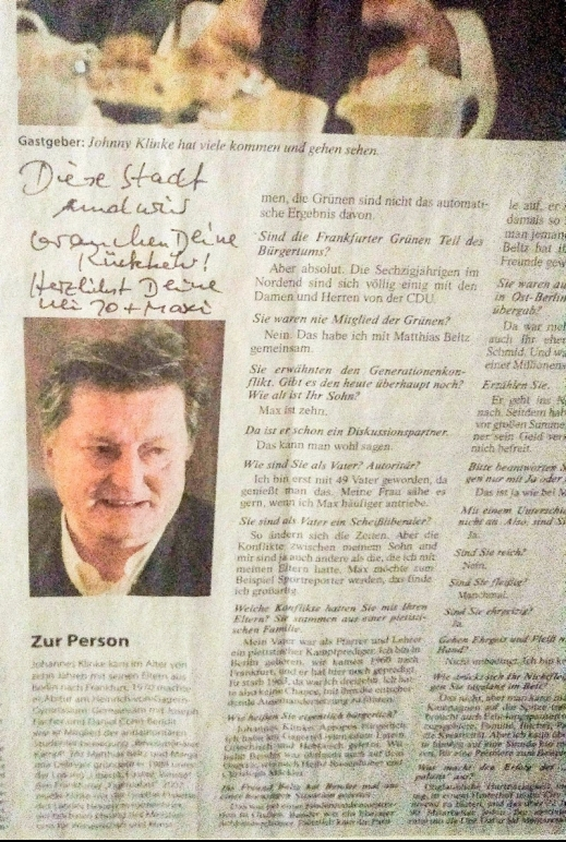 """""""This city requires splendor"""" - Johnny Klinke in the newspaper Frankfurter Allgemeine Zeitung"""